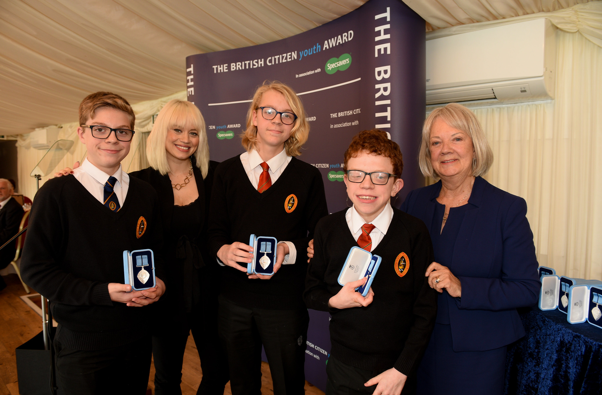 James Lunn BCyA, Kimberly Wyatt, Andrew Lunn BCyA, Marcus Weston BCyA, Dame Mary Perkins, Co-Founder, Specsavers