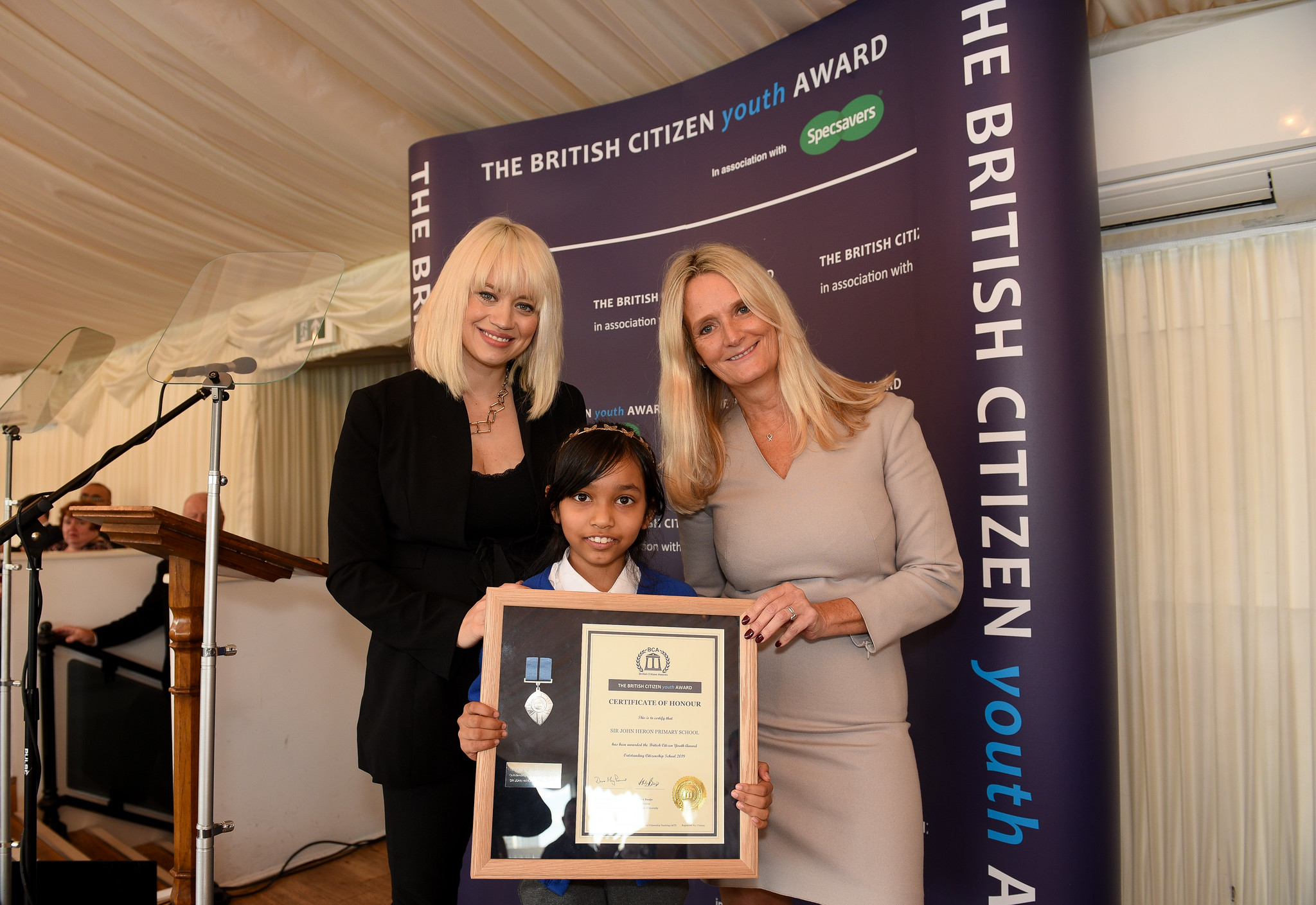 Kimberly Wyatt, Arya Rahman on behalf of Sir John Heron School, Nicky Cox MBE, First News